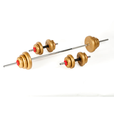 York Fitness 35 KG Vinyl Barbell | Dumbbell Spinlock Set
