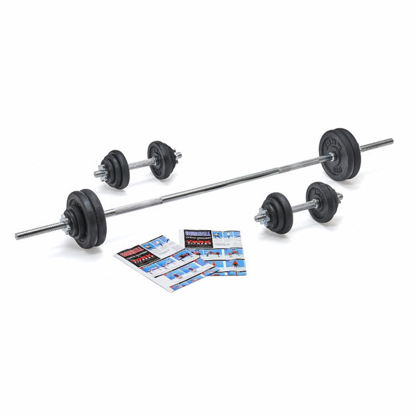 York Fitness 50 KG Black Cast Iron Barbell | Dumbbell Spinlock Set
