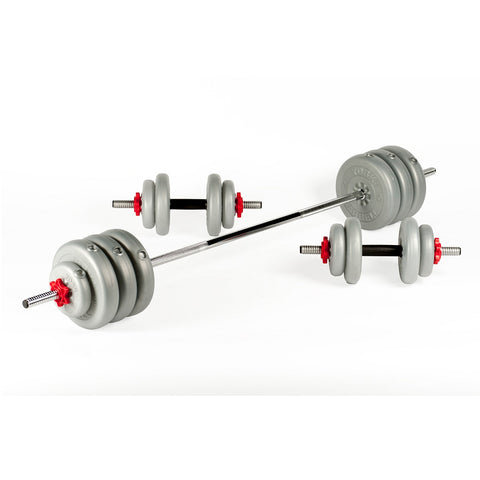 York Fitness 50 KG Vinyl Barbell | Dumbbell Spinlock Set