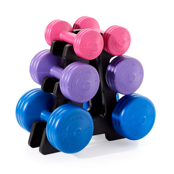 98b743a046b York Fitness Vinyl Dumbbell 19 KG set with Stand