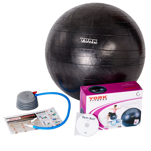 York Fitness Anti-Burst Gym Ball with Workout DVD