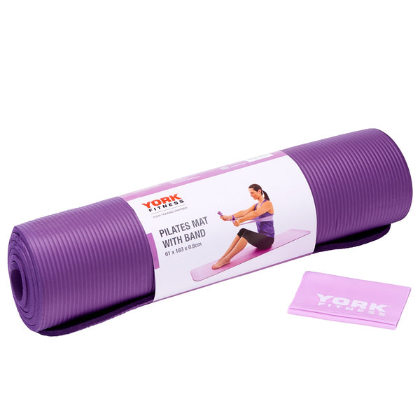York Fitness Pilates Mat with Resistance Band