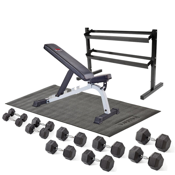 York Fitness Rubber Hex Dumbbell Garage Set