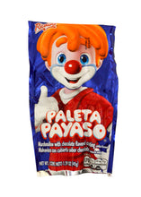 Payaso, marshmallow with chocolate flavored coating with gummies that simulates the shape of a face