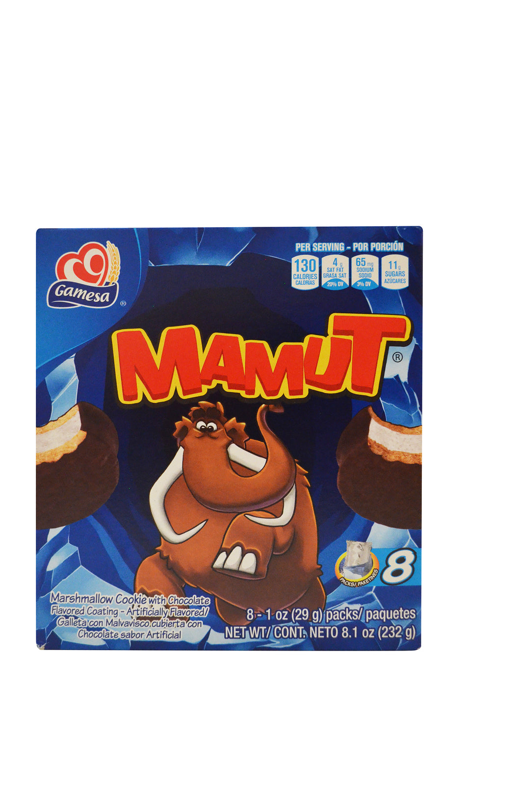Mamut marshmallow cookie with chocolate flavored coating
