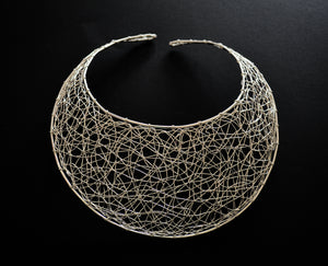 Silver made  fishnet style choker