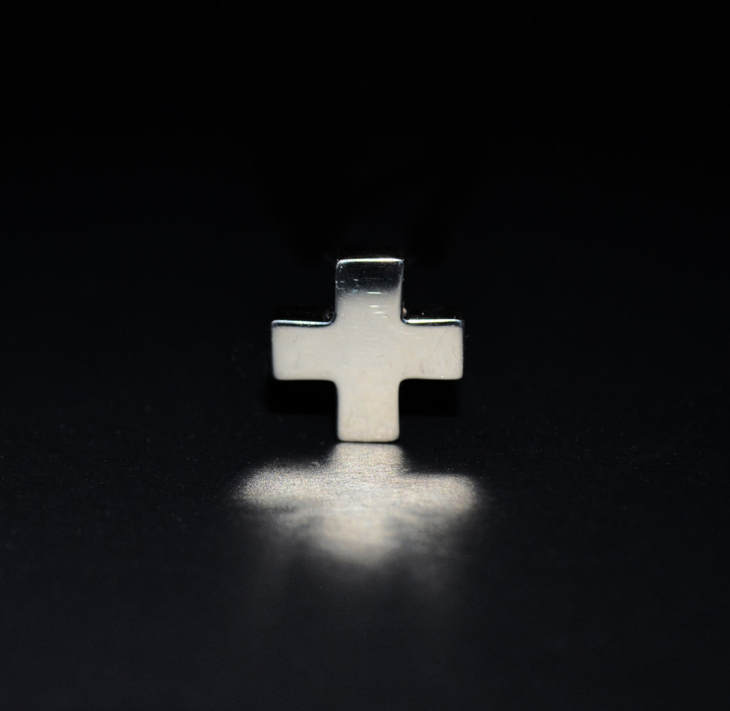 Silver made box style cross