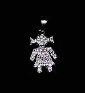 Silver made doll pendant with Swarovski, chain included