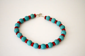 Necklace from turquenite y coral disks