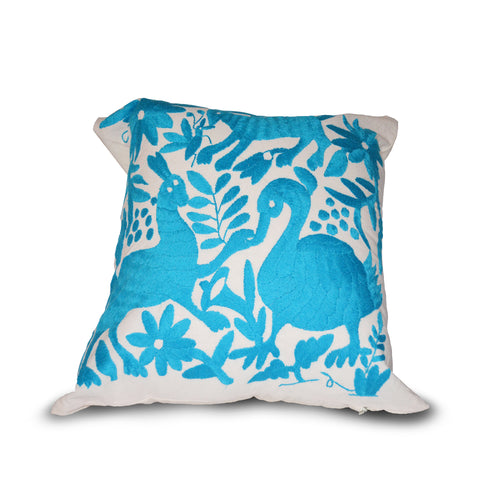Otomi pillow cover blue
