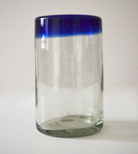 Hand blown water glass with a blue rim