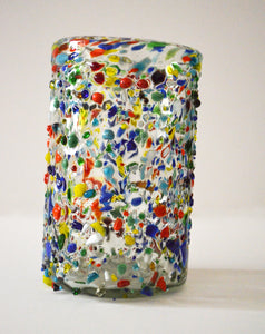 Hand blown water glass with a colorful finish