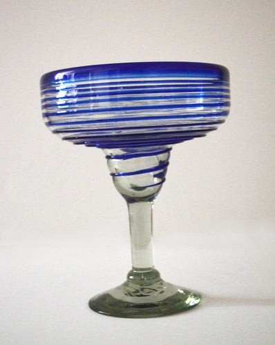 Hand blown margarita glass with blue spiral finish