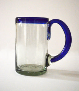 Hand blown beer glass with a blue rim