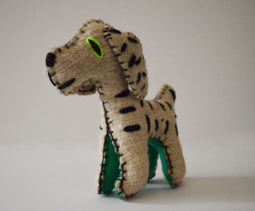 Handmade stuffed dalmatian made out of wool in Chiapas