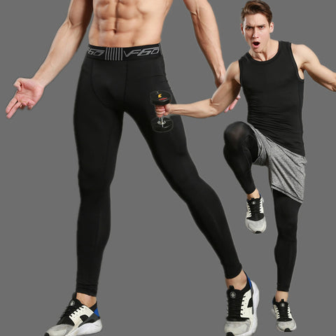 2017 Compress Gymming Leggings Men Fitness Workout Leggings Summer Thin Fitness Male Long Pants