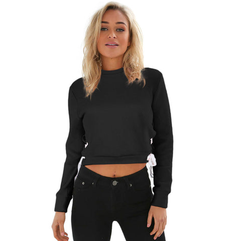 2017 Autumn Women Tops Blouse Pullover Jumper Hoody Long Sleeve Sweatshirt Crop Tops Gray Black Cool Street Style O-Neck Blusas