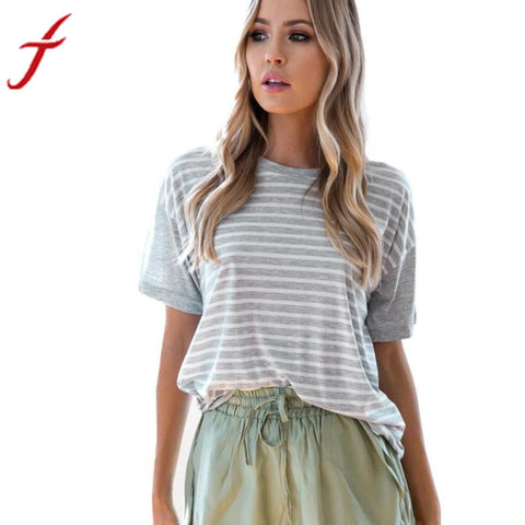 2017 Summer Beach Wear T-Shirt Womens Short Sleeve Tops Cotton Sexy Gray White Striped Loose Shirt