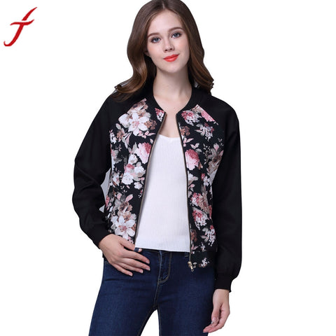 2016 Autumn Fashion New Women Jacket Coat Rose Floral Print Winter Street Jacket Women Casual Zipper Jackets #LSN