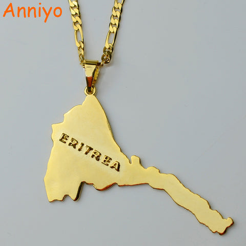 Anniyo Eritrea Map Pendants & Necklaces Chain Women Men/Map of Eritrea  Gold Color Jewelry Africa Necklace Ethiopia #004101
