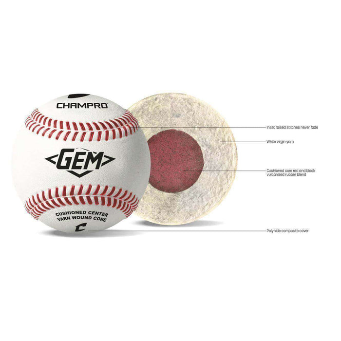Champro Gem Ball Pitching Machine Baseballs (1 Dozen)