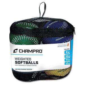 Weighted Training Softball Set By Champro-Baseball & Softball Equipment-Champro-Training Set W/ 9oz 10oz 11oz 12oz balls-Unique Sports