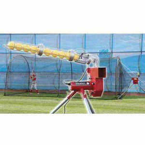 Baseball Pitching Machine With Ball Feeder & 24' X-tender Cage By Heater Sports-Equipment For The Beginner-Heater-Unique Sports