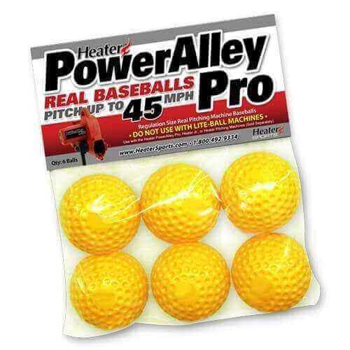 Heater PowerAlley Pro Yellow Dimple Real Pitching Machine Baseballs