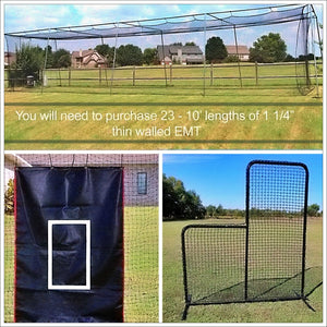 #24 Cage Net And 1.5-Inch DIY Corner Kit Practice Package-Baseball & Softball Equipment-Cimarron-Unique Sports