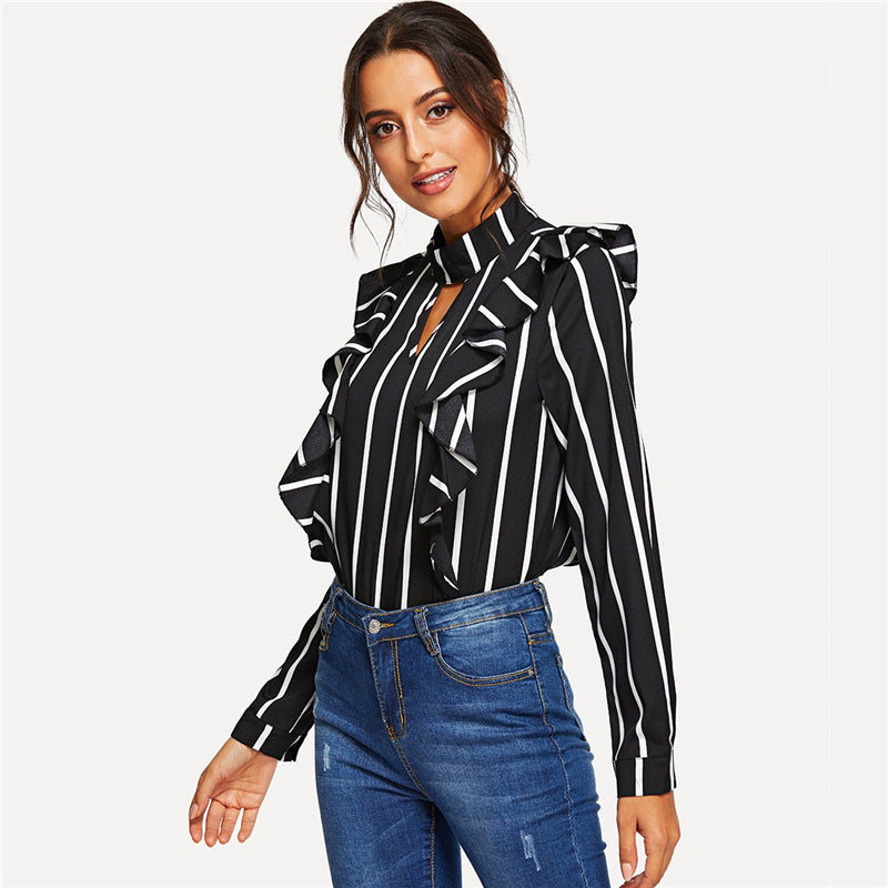 f5599aa668ee0b Black Classic Ruffle Trim Striped Button Keyhole Front and Back Long Sleeve  Women's Blouse