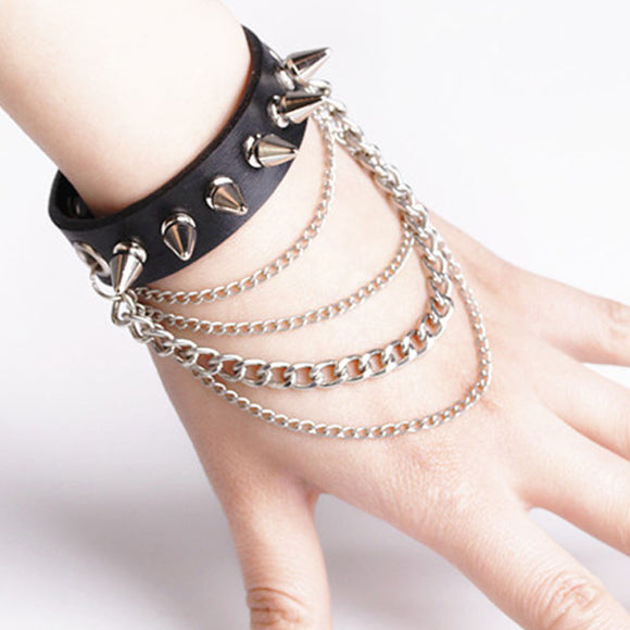 Leather & Spikes Wrist Cuff
