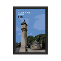 Clapham Clock Tower And Underground Station SW4 - Giclée Art Print
