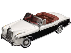 1/18 1958 Mercedes Benz 220 SE Convertible Ivory White and Black 1/18 Diecast Model Car by SunStar