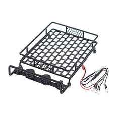 Roof Luggage Rack with LED Light Bar for 1/8, 1/10 RC Cars