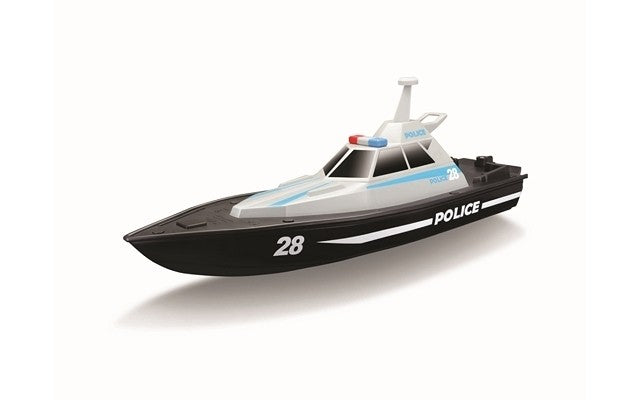 R/C Police Boat (34cm Long) Battery & USB Charger Included