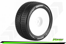 Louise RC - T-TURBO - 1-8 Truggy Tire Set - Mounted - Super Soft - White Wheels - 0-Offset - Hex 17mm