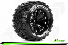Louise RC - MT-CYCLONE - 1-10 Monster Truck Tire Set - Mounted - Soft - Black 2.8 Wheels - 1/2-Offset - Hex 12mm - L-T3226SBH
