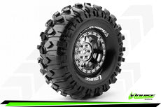 Louise RC - CR-ROWDY - 1-10 Crawler Tire Set - Mounted - Super Soft - Black Chrome 1.9 Wheels - Hex 12mm - L-T3233VBC