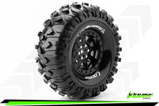 Louise RC - CR-ROWDY - 1-10 Crawler Tire Set - Mounted - Super Soft - Black 1.9 Wheels - Hex 12mm - L-T3233VB