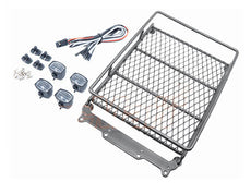 Roof Luggage Rack with LED Light Bar for 1/10 RC Cars