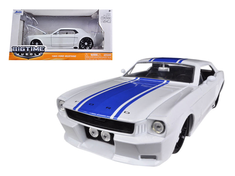 1/24 1965 FORD MUSTANG WHITE/BLUE STRIPES BIGTIME KUSTOMS