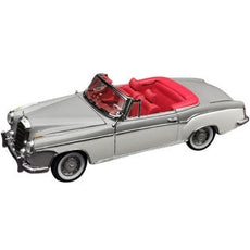1/18 SUNSTAR 1958 Mercedes Benz 220 SE Convertible Gray and White with Red Interior  Diecast Model Car by SunStar