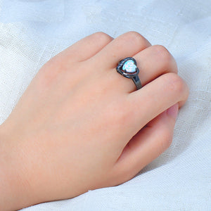 October Opal Black Gold Filled Ring