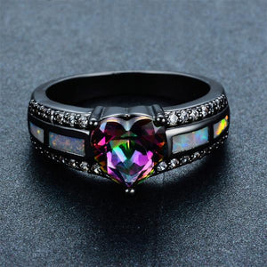 January Black Gold Filled Heart Ring