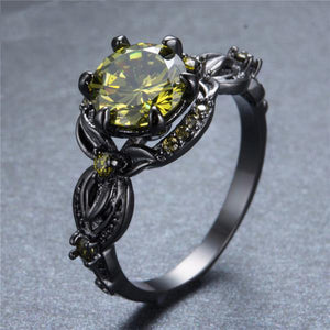 August Zircon Black Gold Filled Ring