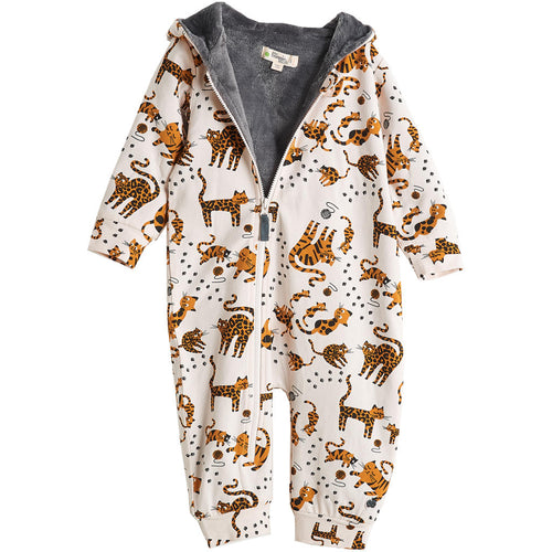 BAMBINISTA - THE BONNIE MOB - Outerwear - Kip Hooded Onesie with Faux Fur Lining Sand Cat