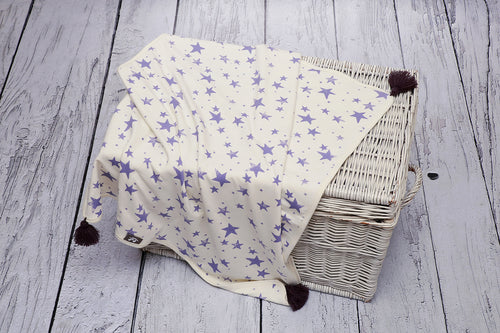 BAMBINISTA - PULP - Blankets - Bamboo Reversible Blanket with Pompoms Star Violet