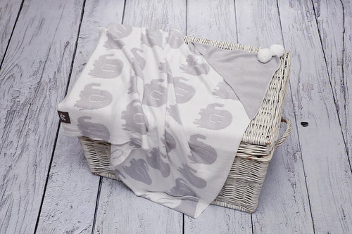 BAMBINISTA - PULP - Blankets - Bamboo Knitted Hooded Blanket Elephant Grey