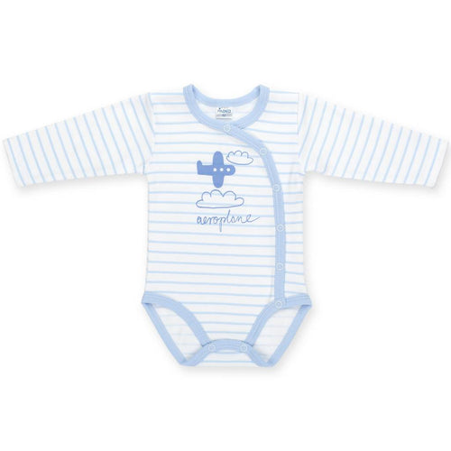 PINOKIO - Happy Kids Long Sleeve Wrap Bodysuit Aeroplane - Onesies - Bambinista