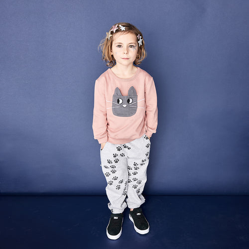 THE BONNIE MOB - Flashy Cat Pocket Sweatshirt Pink - Tops - Bambinista